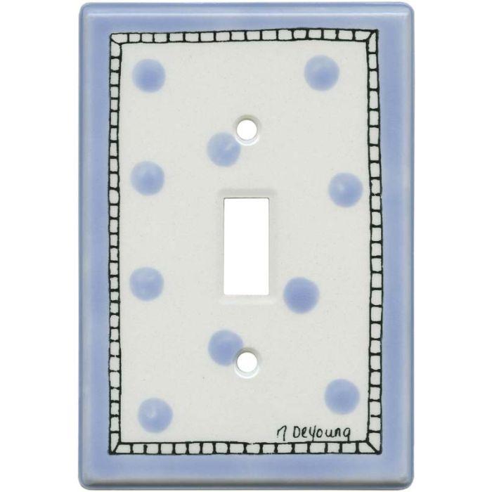 Blue Dots Single 1 Toggle Light Switch Plates