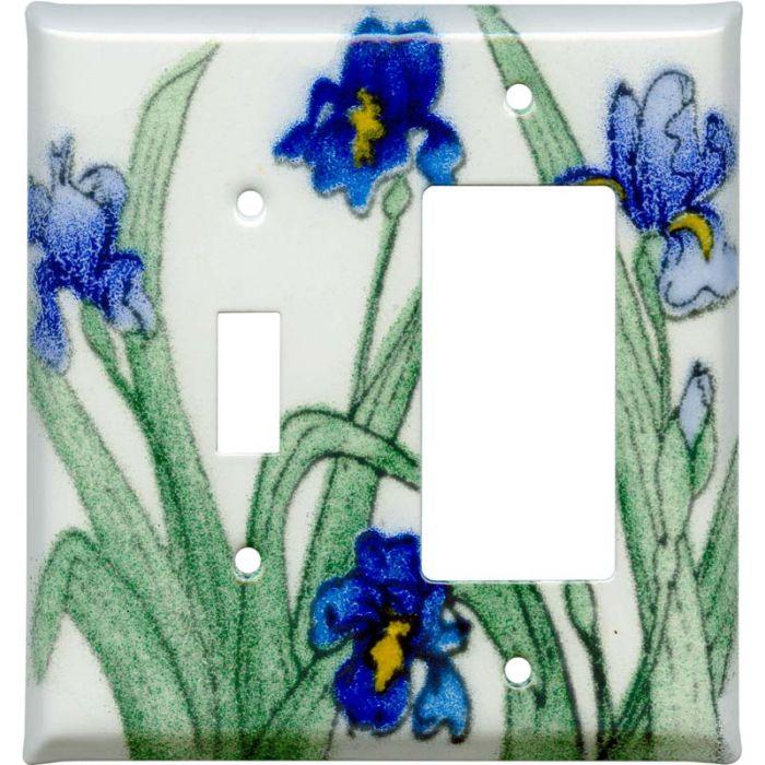 Blue Irises1 Toggle Wall Switch Plate - GFI Rocker Cover Combo