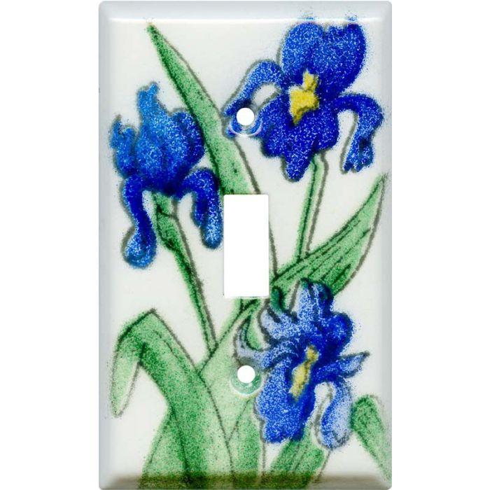 Blue Irises Single 1 Toggle Light Switch Plates