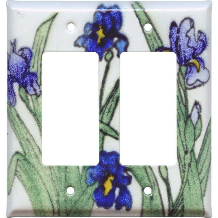 Blue Irises 2 Gang Double GFCI Rocker Decorator Wallplates