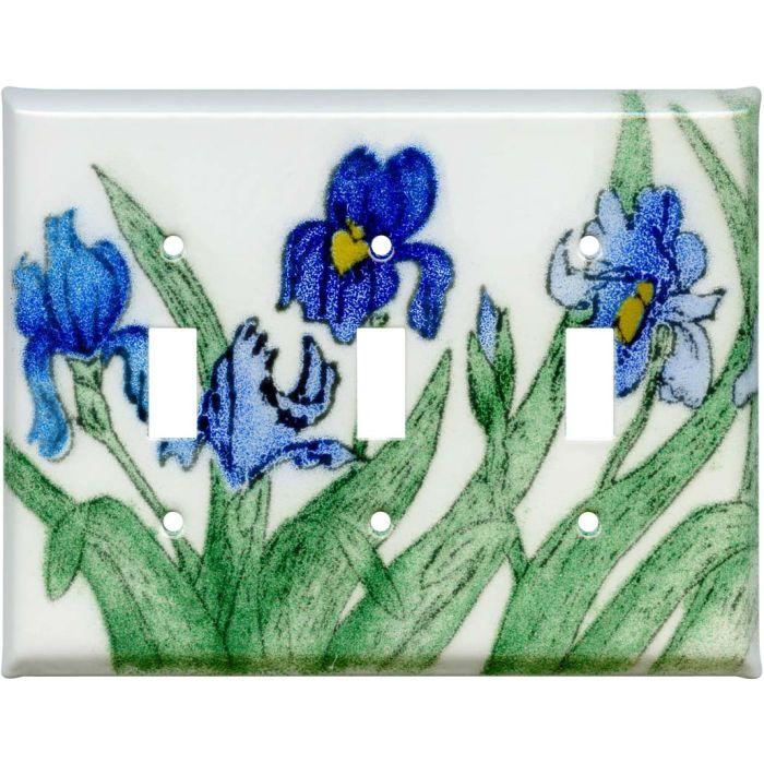 Blue Irises Triple 3 Toggle Light Switch Covers