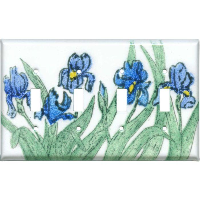 Blue Irises Quad 4 Toggle Light Switch Covers