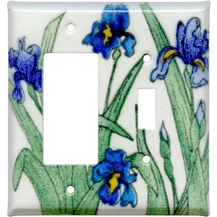 Blue Irises 1-Gang GFCI Decorator Rocker Switch Plate Cover
