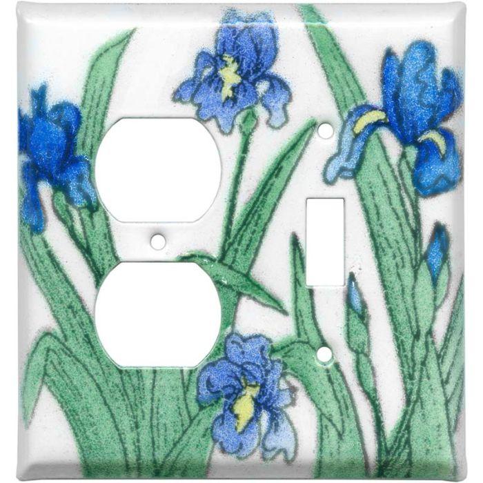 Blue Irises1-Duplex / 1-Toggle - Combination Wall Plates