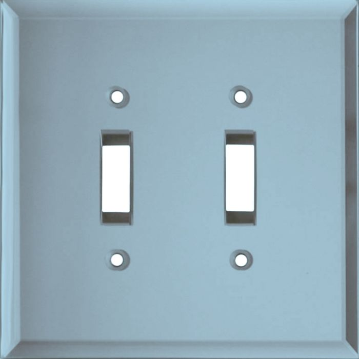 Glass Mirror Blue Tint Double 2 Toggle Switch Plate Covers