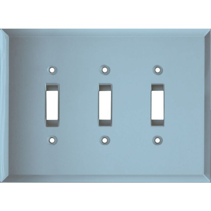 Glass Mirror Blue Tint Triple 3 Toggle Light Switch Covers
