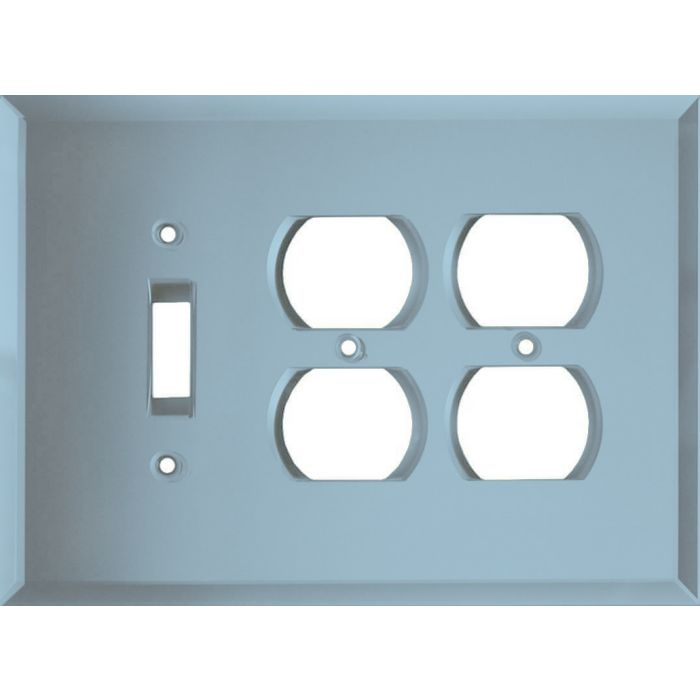 Glass Mirror Blue Tint Combintion Single 1 Toggle / Double 2 Outlet Wall Plates