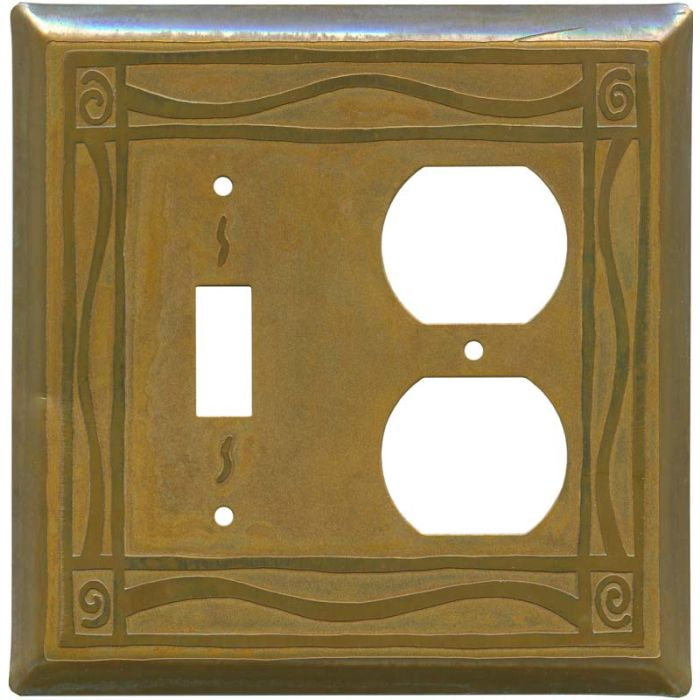 Border Tarnished Copper Combination 1 Toggle / Outlet Cover Plates