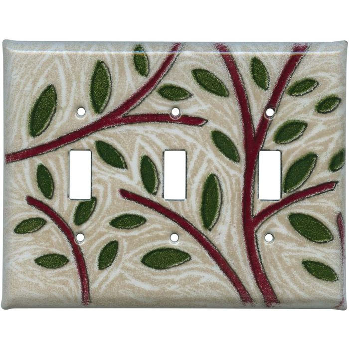 Branches Triple 3 Toggle Light Switch Covers