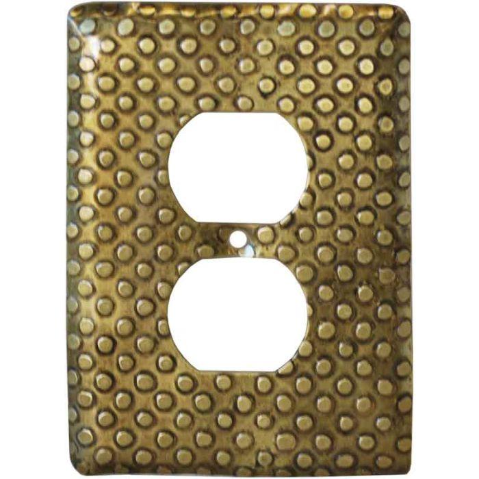 Brass Dots 1 Gang Duplex Outlet Cover Wall Plate