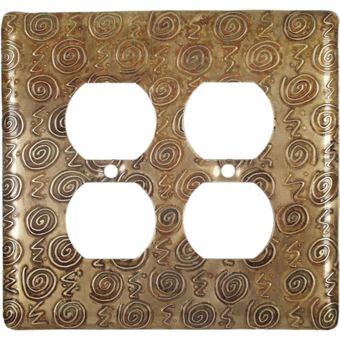 Brass Squiggles 2 Gang Duplex Outlet Wall Plate Cover