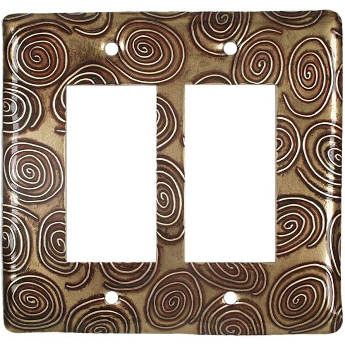 Brass Swirls 2 Gang Double GFCI Rocker Decorator Wallplates