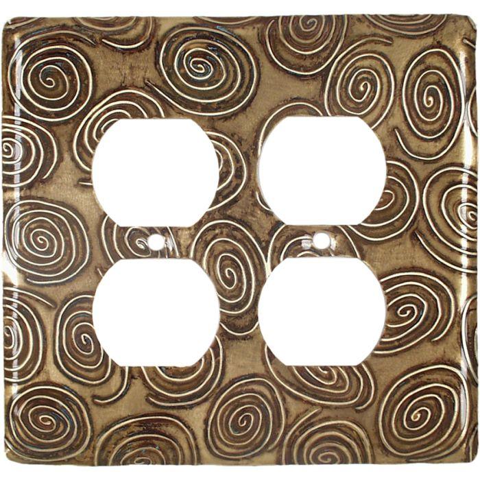 Brass Swirls 2 Gang Duplex Outlet Wall Plate Cover