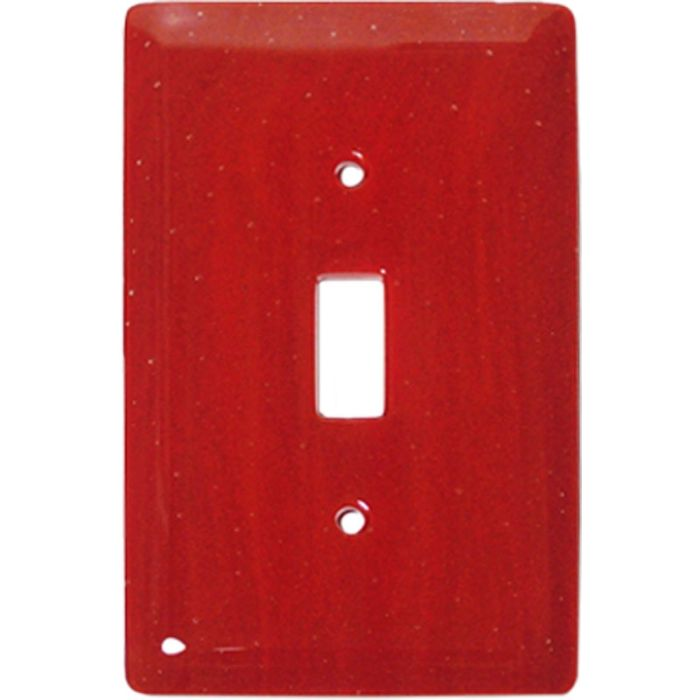 Brick Red Glass Single 1 Toggle Light Switch Plates