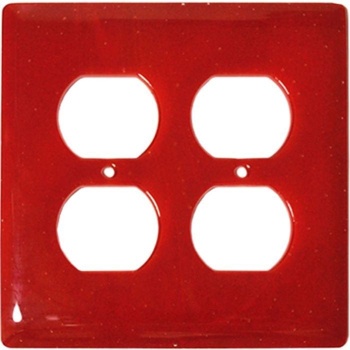 Brick Red Glass 2 Gang Duplex Outlet Wall Plate Cover