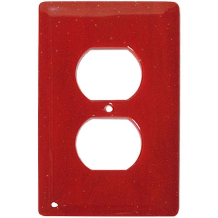 Brick Red Glass 1 Gang Duplex Outlet Cover Wall Plate
