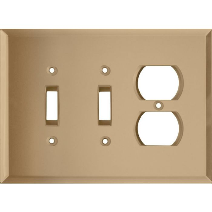 Glass Mirror Bronze Tint Double 2 Toggle / Outlet Combination Wall Plates