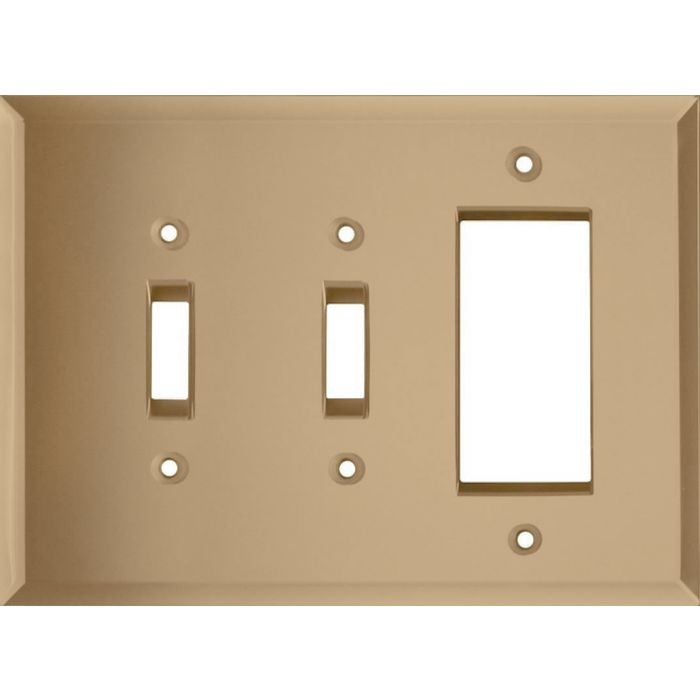 Glass Mirror Bronze Tint Double 2 Toggle / 1 GFCI Rocker Combo Switchplates
