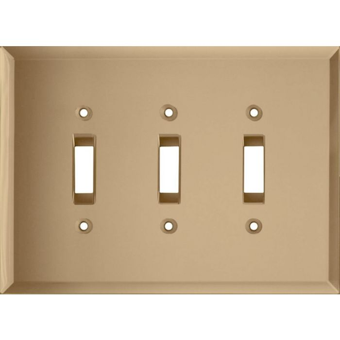 Glass Mirror Bronze Tint Triple 3 Toggle Light Switch Covers