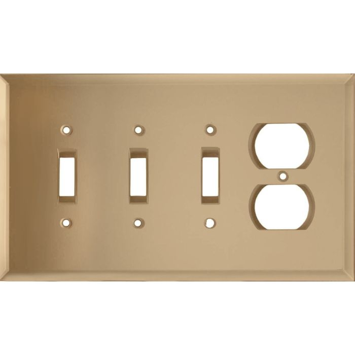 Glass Mirror Bronze Tint Combination Triple 3 Toggle / Outlet Wall Plate Covers
