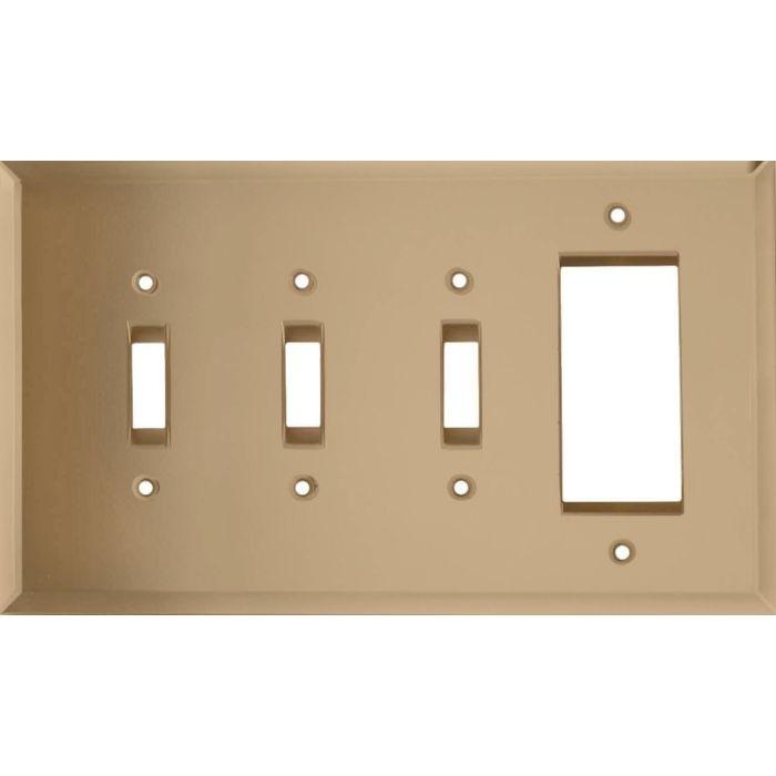 Glass Mirror Bronze Tint Triple 3 Toggle / 1 Rocker GFCI Switch Covers