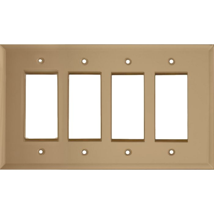 Glass Mirror Bronze Tint 4 Rocker GFCI Decorator Switch Plates