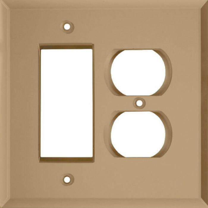 Glass Mirror Bronze Tint Combination GFCI Rocker / Duplex Outlet Wall Plates