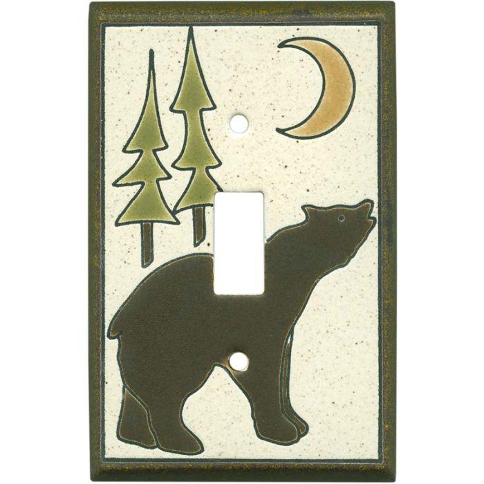 Brown Bear Ceramic Single 1 Toggle Light Switch Plates