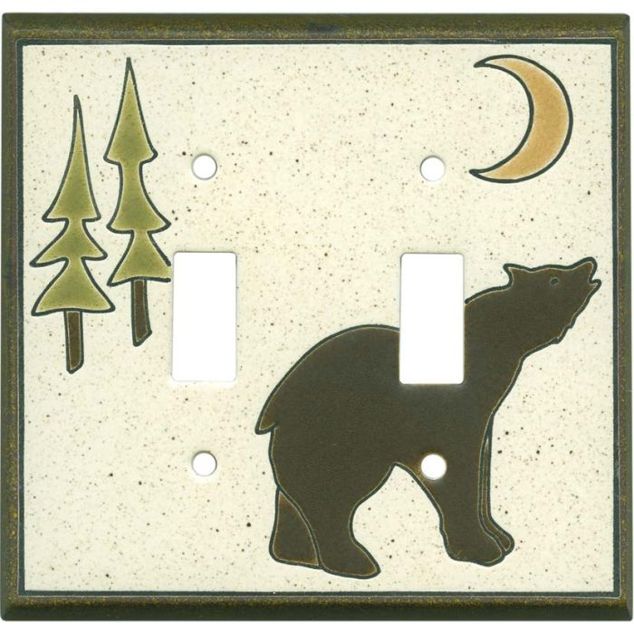 Brown Bear Ceramic Double 2 Toggle Switch Plate Covers