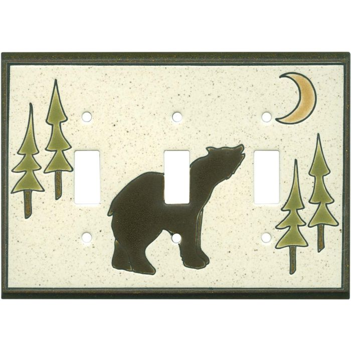 Brown Bear Ceramic Triple 3 Toggle Light Switch Covers