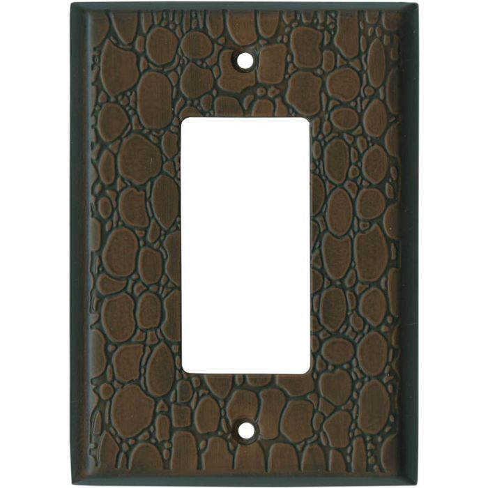 Brown Leather Steel - GFCI Rocker Switch Plate Covers