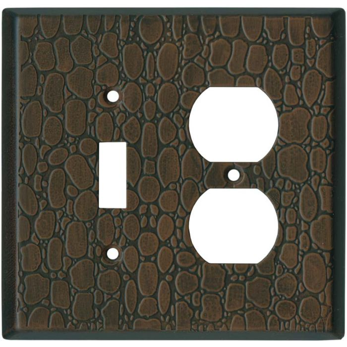 Brown Leather Steel - Combination 1 Toggle/Outlet Cover Plates