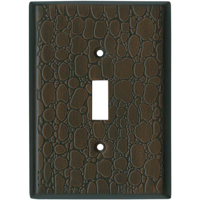 Brown Leather Steel - 1 Toggle Light Switch Plates