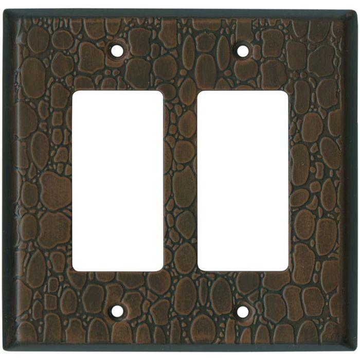 Brown Leather Steel - 2 Gang Double GFCI Rocker Wallplates