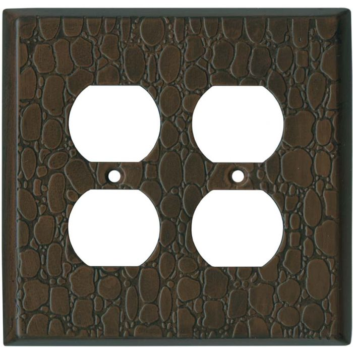 Brown Leather Steel - 2 Gang Electrical Outlet Covers