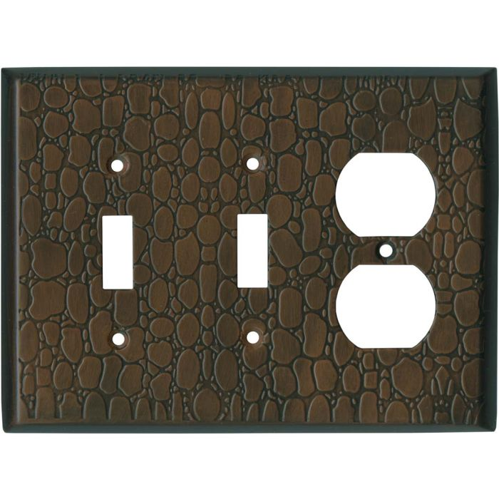 Brown Leather Steel Double 2 Toggle / Outlet Combination Wall Plates
