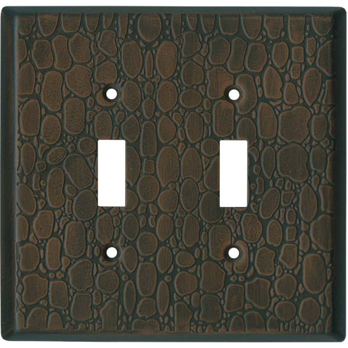 Brown Leather Steel - 2 Toggle Switch Plate Covers