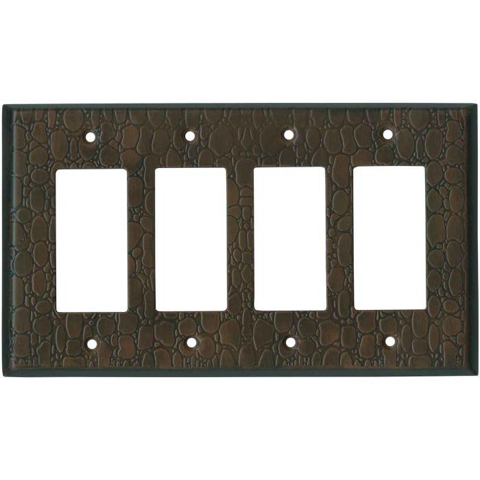 Brown Leather Steel - 4 Rocker GFCI Decora Switch Plates