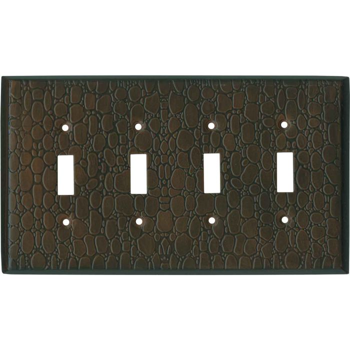 Brown Leather Steel - 4 Toggle Light Switch Covers