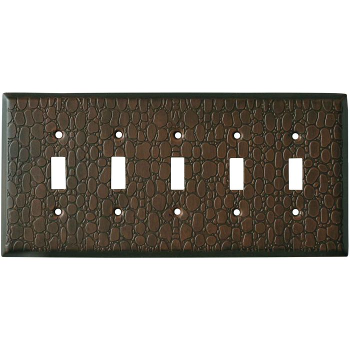 Brown Leather Steel - 5 Toggle Wall Switch Plates