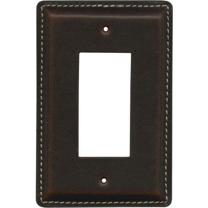 Brown Oil Pull - Up Leather 1-Gang GFCI Decorator Rocker Switch Plate Cover