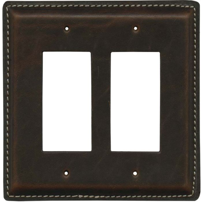 Brown Oil Pull - Up Leather 2-Gang Decorator / GFCI Rocker Wall Plate Cover
