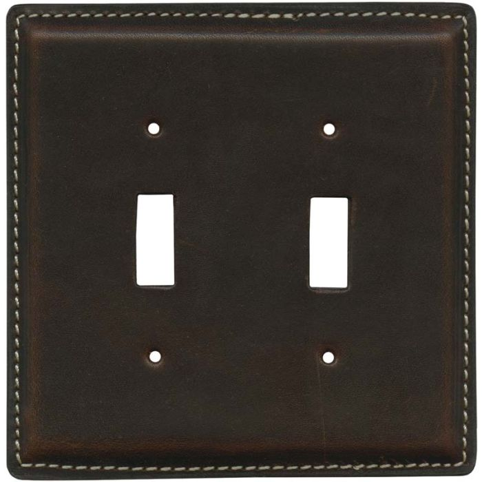Brown Oil Pull - Up Leather 2 Toggle Switch Plates