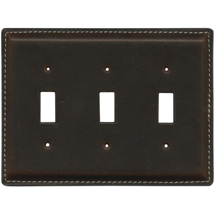 Brown Oil Pull - Up Leather - 3 Toggle Light Switch Covers