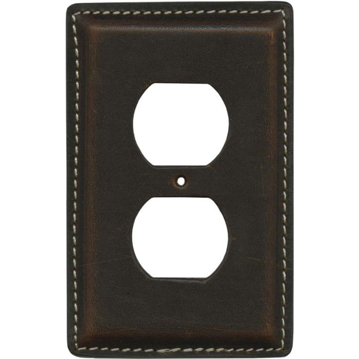 Brown Oil Pull - Up Leather 1 Gang Duplex Outlet Cover Wall Plate