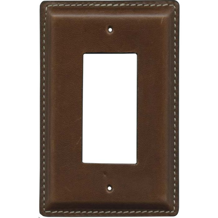Brown Oiled Leather - GFCI Rocker Switch Plate Covers