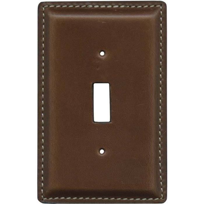 Brown Oiled Leather - 1 Toggle Light Switch Plates