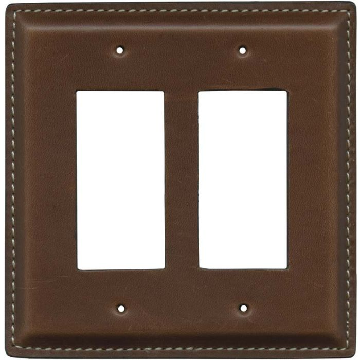 Brown Oiled Leather - 2 Gang Double GFCI Rocker Wallplates