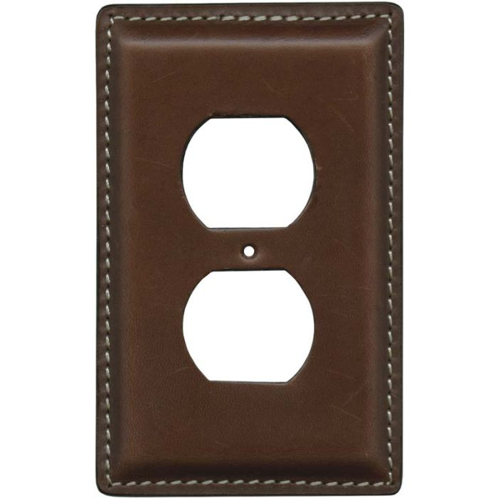 Brown Oiled Leather 1 Gang Duplex Outlet Cover Wall Plate