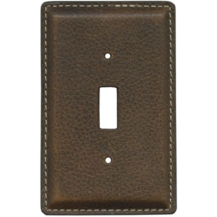 Brown Pebble Grain Leather - 1 Toggle Light Switch Plates